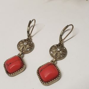 Jewelry - Gorgeous Acrylic Red Stone Dangle Earrings
